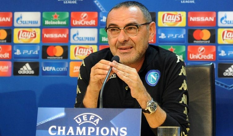 Maurizio Sarri at a press conference