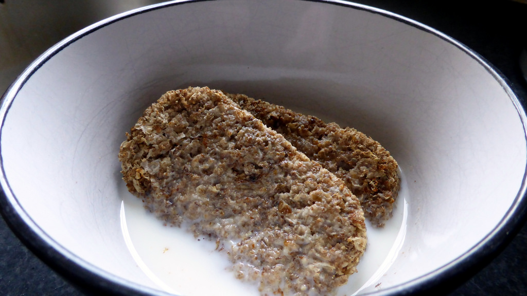 two weetabix in a bowl